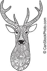 Deer. Hand-drawn reindeer with ethnic doodle pattern. Coloring page - zendala, for relaxation and meditation  adults, vector illustration, isolated on a white background. Zen .