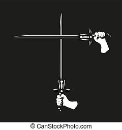 cruzado, espadas, dois