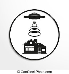Unidentified flying object - Black and white illustration.