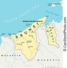 Brunei Political Map - Brunei political map with capital...
