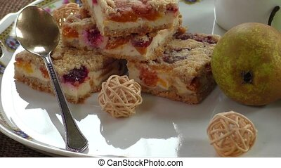 Fruity pie with crumble - Homemade seasonal fruity pie with...