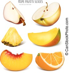 collection-fruits-slices - Slices of fresh fruits Fully...