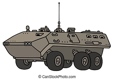 Wheeled troop carrier - Hand drawing of a wheeled troop...