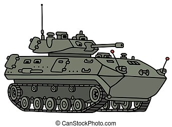 Tracked armoured vehicle - Hand drawing of a tracked...