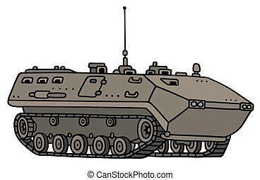 Tracked troop carrier - Hand drawing of a tracked troop...