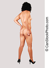 Gorgeous nude girl from back - A young pretty nude woman...