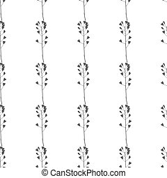 Hand drawn meadow grass seamless pattern - Hand drawn black...