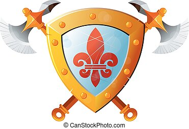 Shield With Axe - Beautiful knight shield with two crossed...