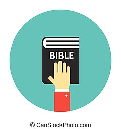 Hand on the Bible icon flat Taking oath illustration