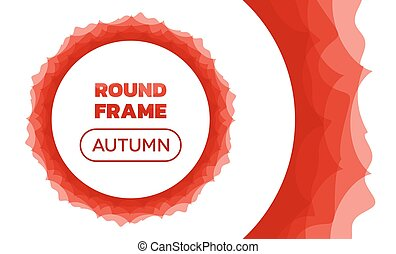 Overlay Waves - Round Autumn Frame - Curved vector lines...