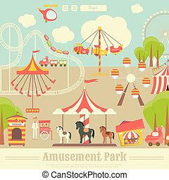 Amusement Park. Summer Holiday Card with Fairground Elements...