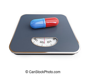 pills for weight loss floor scale on a white background. 3D...