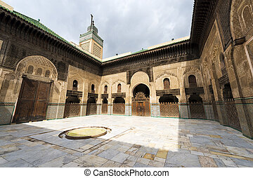 Mosque in Fez - View of the courtyard in the Madrasa Bou...