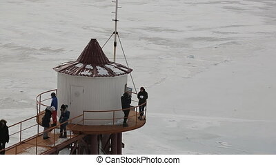 Students were taken on a tour of winter on shore of lake....