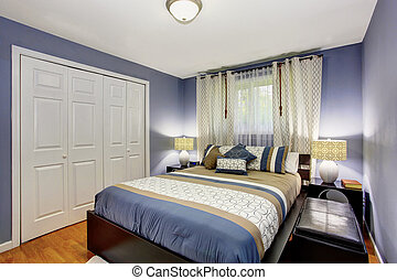 Black and blue bedroom interior with built-in wardrobe and hardwood floor.