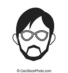 face of man wearing glasses and beard icon - simple flat...