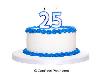 Birthday cake decorated with blue frosting and number twenty...