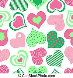 Pink and Green Hearts Pattern