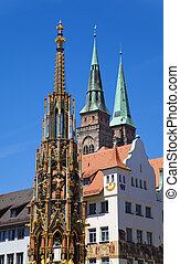 Nuremberg Landmarks - Schner Brunnen Beautiful Fountain and...