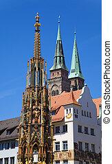 Nuremberg Landmarks - Sch?ner Brunnen (Beautiful Fountain)...