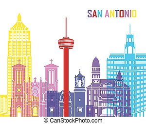 San Antonio skyline pop in editable vector file