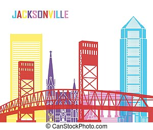 Jacksonville skyline pop in editable vector file