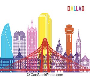 Dallas skyline pop in editable vector file