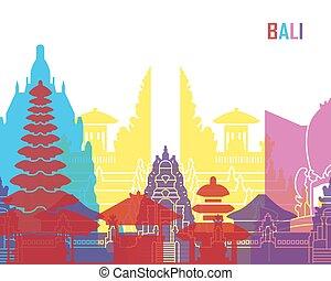 Bali skyline pop in editable vector file
