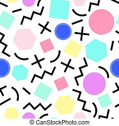 Vector seamless geometric pattern Memphis Style Abstract 80s...