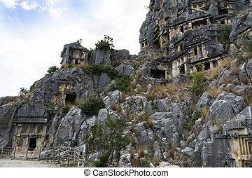 Famous rock-cut Lycian tombs in Myra Demre, Turkey