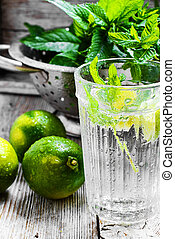 Invigorating summer drink - Refreshing cocktail with lime...