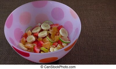Fruit salad - Bowl of healthy colorful fruit salad