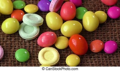 Many different color candies