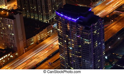 Timelapse aerial view Toronto at night - A Timelapse aerial...