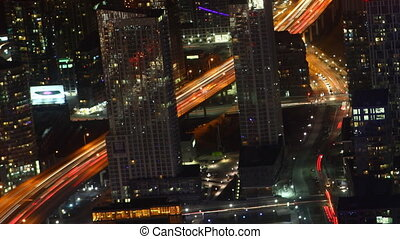 Timelapse aerial of traffic Toronto at night