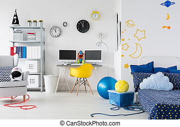 Place reflects the passions - Bright child room with bed,...