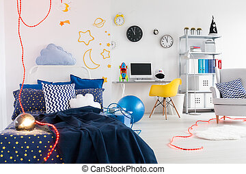 When passion shapes the place - Child room with cosmic...