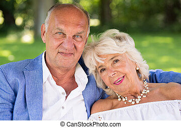 Romantic elderly couple - Portrait of romantic elegant...