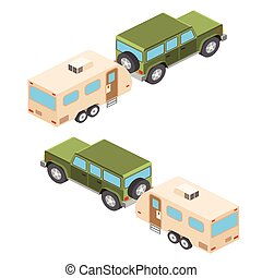 Isometric vector illustration of car and travel trailers. Summer trip family travel concept. Vector illustration.