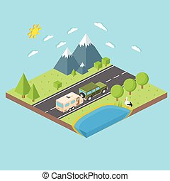 Isometric illustration of car and travel trailers. Summer trip family travel concept. Thin line icon. Vector illustration.