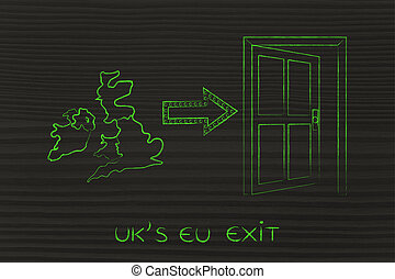 UK next to a door with arrow, EU exit - UK's EU exit, Great...