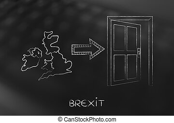 UK next to an exit door with arrow, Brexit - Brexit, United...