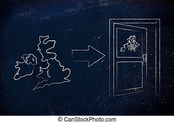 UK next to an Europes exit door with arrow, Brexit...
