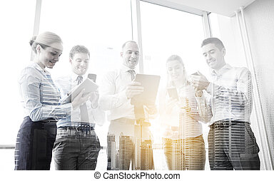 business people with tablet pc and smartphones - business,...