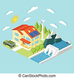 Isometric low-energy house. Wind turbine, solar panels and hydro power plant .For web design, mobile and application interface, also useful for infographics. Vector illustration.