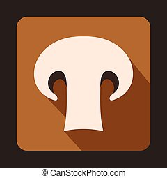 Champignon mushroom icon, flat style - icon in flat style on...