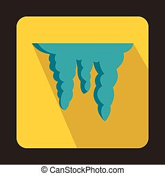 Icicles icon in flat style - icon in flat style on a yellow...