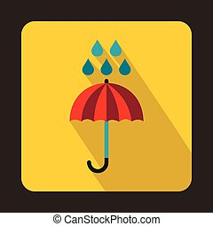 Red umbrella and rain drops icon, flat style - Red umbrella...