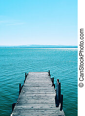 dock in the lagoon of the Albufera in Valencia, Spain