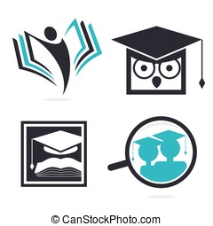 Isolated abstract studying vector logo set. Cartoon owl...